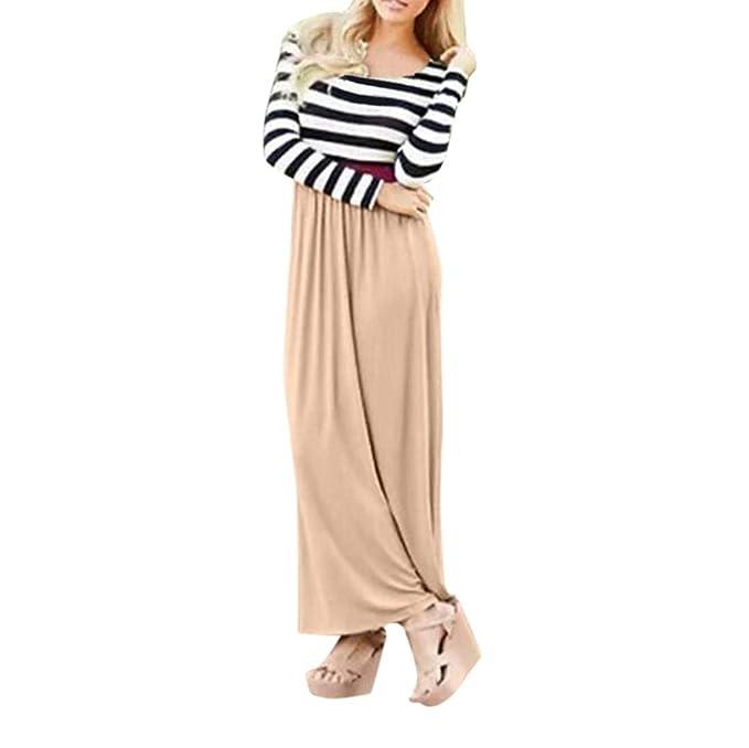 Vestidos Largos De Mujer Casuales,Moda Largo Mangas Rayas horizontales O-Cuello Diario Casuales