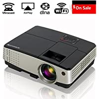 Mobile Portable Projector Wireless 2600 Lumen, Android Home Theater Support 1080p Full HD HDMI USB AV VGA TV, WiFi Connection for Screen Mirroring with iPhone Smartphone PC Laptop by Airplay Miracast