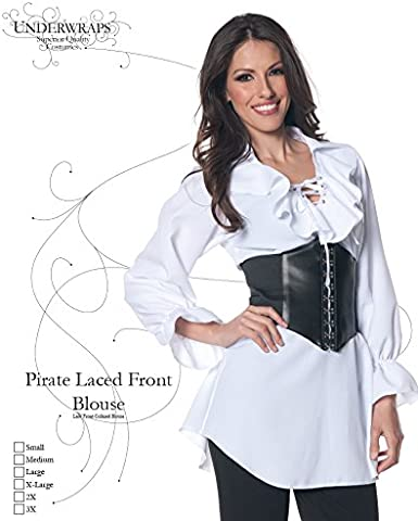 Underwraps Womens Plus-Size Pirate Laced Front Blouse