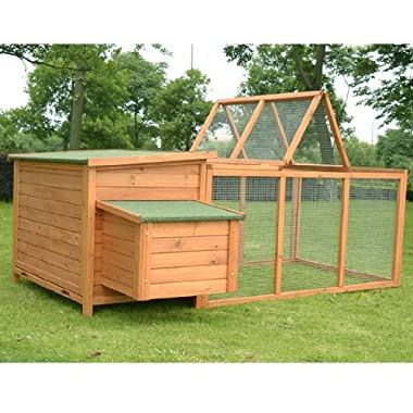 Pawhut Deluxe Wooden Chicken Coop with Backyard Outdoor Run, 87