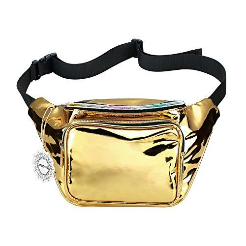 Shiny Neon Fanny Bag for Women Rave Festival Hologram Bum Travel Waist Pack (Gold)