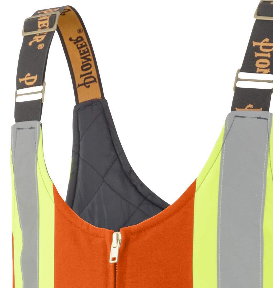 Men Hi-Vis Bib Pants Pioneer V2060550-S Insulated Heavy-Duty Work Overall Orange 4 Pockets S