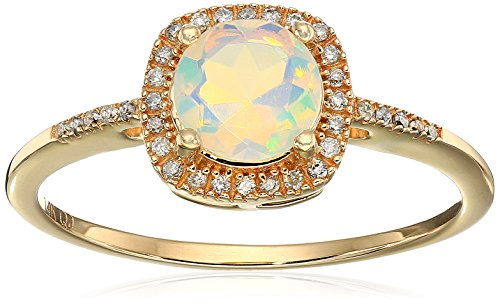 0.54 Carat Genuine Ethiopian Opal & White Diamond 14K Yellow Gold Ring
