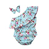 Newborn Toddler Baby Girl Floral Sleeveless Bodysuit Romper Jumpsuit Outfit Set Casual Clothes with Headband (70, Blue)