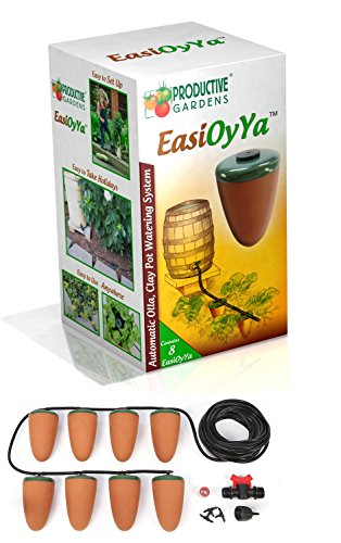 EasiOyYa Professional Watering Spikes Automatically Delivers Water to The Roots of Your Plants 24/7 - Your Long Term Holiday/Vacation Watering Solution - Natural Olla Irrigation
