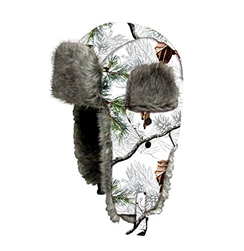 Dakota Dan Mens Ear Flap Cap w/ Faux Fur Lining (Snow Camo)