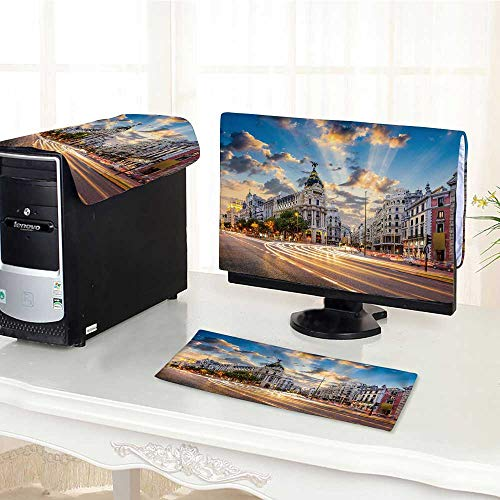 (UHOO2018 One Machine LCD Monitor Keyboard Cover Madrid Spain on Gran Via dust Cover 3 Pieces /29