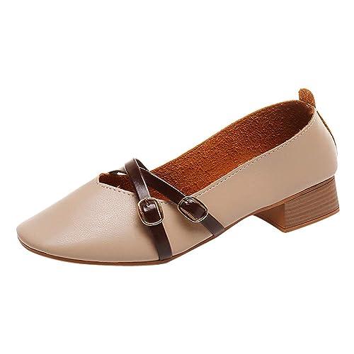 GNYD-Mujer Damas Moda Square Toe Mocasines De TacóN Cuadrado Zapatos Casuales Zapatos Solos: Amazon.es: Zapatos y complementos
