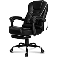 ALFORDSON Massage Executive Office Chair with Footrest PU Leather Home Computer Desk Swivel Chair (Black)