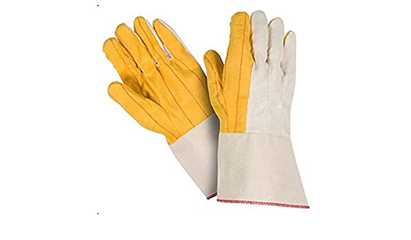 100/% Cotton Southern Gloves U18SG Palm Oil Field Gloves Starched Gauntlet Pack of 12 Golden Brown Heavy Weight