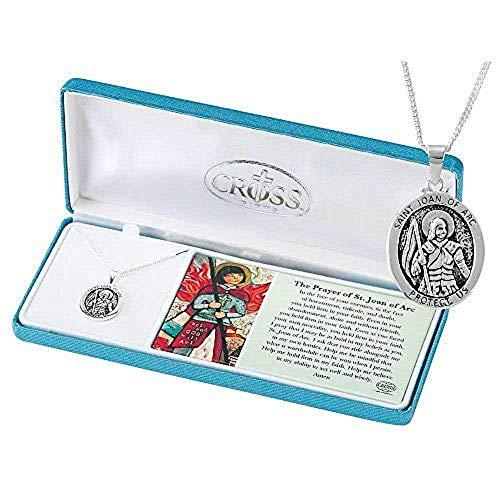(DKS001 Silver Tone St. Joan of Arc Medal 18