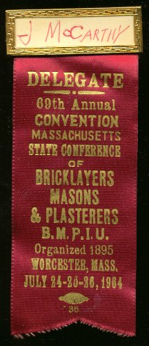 Massachusetts Bricklayers Convention Delegate pin 1964 ()