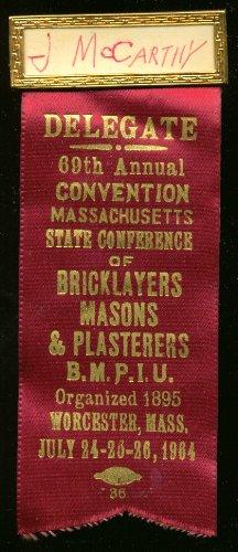Massachusetts Bricklayers Convention Delegate pin 1964 (Delegate Pin)