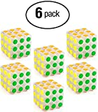Little Treasures 6 Pack Party Favors Magic Speed Cube, Clear Stickerless Puzzle Cube Great Brain Training Game, 3X3 Easy Turning Smooth Play, Educational Toy Logical Fun.