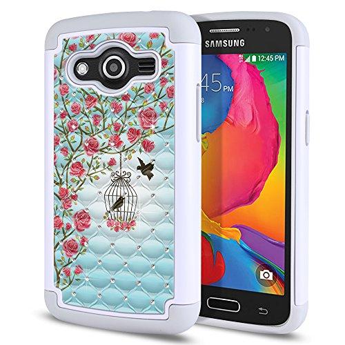 Samsung Galaxy Avant G386T Case, Fincibo (TM) Dual Layer Shock Proof Hybrid Hard Protector Cover anti-drop Silicone Star Studded Rhinestone Bling, Love Story (Studded Samsung Avant Case)