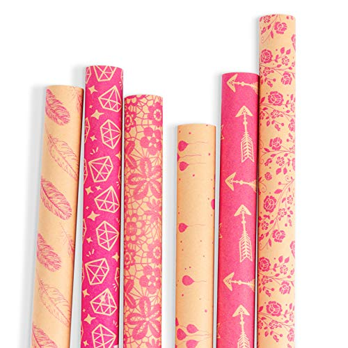 RUSPEPA Kraft Gift Wrapping Paper - Brown Kraft Paper with Hot Pink Pattern Collection-6 Roll-30Inch X 10Feet Per Roll]()