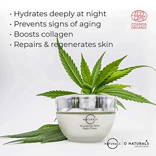 51NXh3KwuuL - O Naturals Organic Hydrating Repairing Hemp Oil Night Cream. Anti-Aging Face & Neck Moisturizer. Prevents Dry Cracked Skin, Wrinkles, Soothes Inflammation Boosts Collagen Omega 3 Hyaluronic Acid 1.7oz