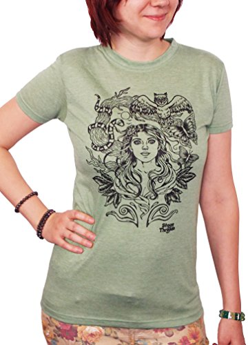 Stage Threads Women's Original Fairy Butterfly and Tree Fitted T-Shirt Small (Butterfly Fairy T-shirt)