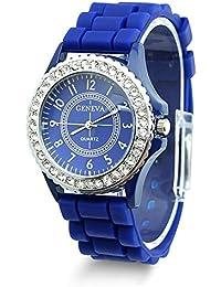 Geneva Fashion Crystal Jelly Gel Silicon Girl Women's Quartz Wrist Watch (Dark Blue)