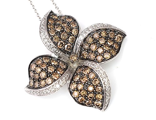 Tdw Brown Diamond Necklace - LeVian Pendant Chocolate and Vanilla Diamonds 2.62 cttw Large Flower Necklace 14k White Gold 1.33