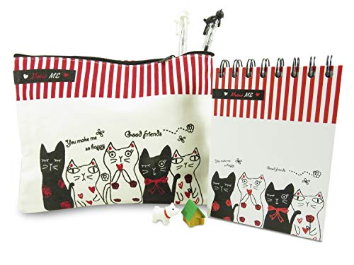 Kawaii Cat Pencil Pen Cosmetic Case Bag 8.75 x 6.5 inches with Spiral Notebook and (2) Ballpoint Gel Cat Pens Black Ink and Mini Puzzle Dog and House Eraser (Perfect 6 Piece Stocking Stuffer) ()