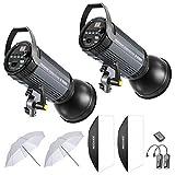 Neewer 600W Studio Strobe Flash Photography Lighting Kit:(2)300W Monolight,(2) Reflector Diffuser,(2) Softbox,(2)33 Inches Umbrella,(1) RT-16 Wireless Trigger for Shooting Bowens Mount(S-300N)