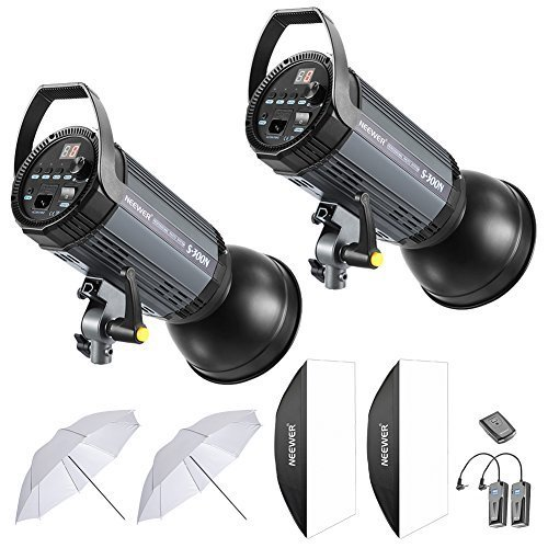 Neewer 600W Studio Strobe Flash Photography Lighting Kit:(2)300W Monolight,(2) Reflector Diffuser,(2) Softbox,(2)33 Inches Umbrella,(1) RT-16 Wireless Trigger for Shooting Bowens Mount(S-300N)