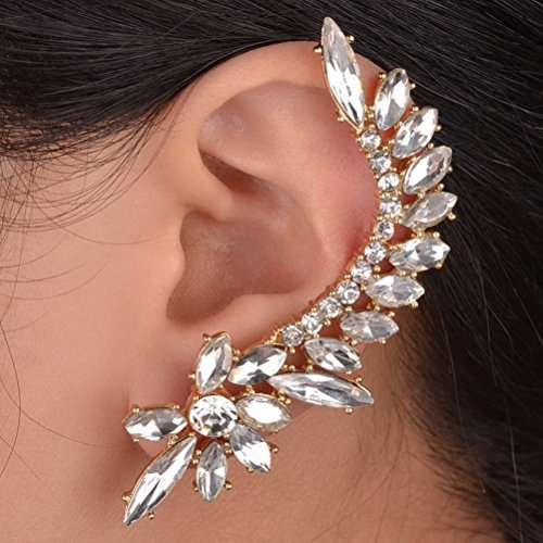 One Piece Oval Crystal Flower Gold Plated Left Cuff Earring Ear Wrap Clip Clear S669K10