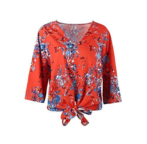 avec Shirt 4 Blouses Chemisiers 3 Hauts Rouge Col et Femmes Automne Printemps Manches Tee Impression Lache V Bandage Casual T Tops q0UTSxf