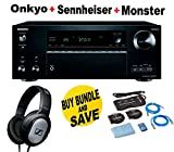 Onkyo THX-Certified Audio & Video Component Receiver black (TX-NR777) + Monster Home Theater Accessory Bundle + SENNHEISER HD206 Bundle