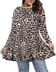Vrouwen Lange Mouw Geplooide Blouse Ronde Hals T-Shirt Herfst Winter Leopard Bloemenprint Losse Flowy Tuniek Top voor Leggings