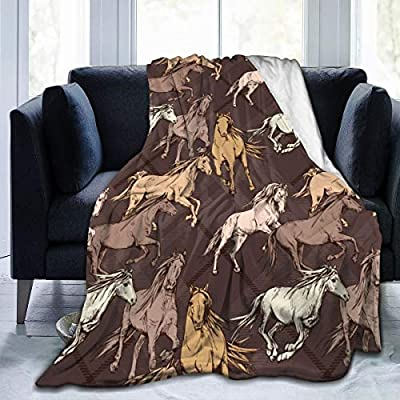 Amazon Com Clqqp Throw Blanket The Running Beautiful Horses On A Brown Checkered Background Fleece Blanket Super Soft Baby Blanket Warm Blankets Summer Air Conditioner Fleece Throw Kitchen Dining
