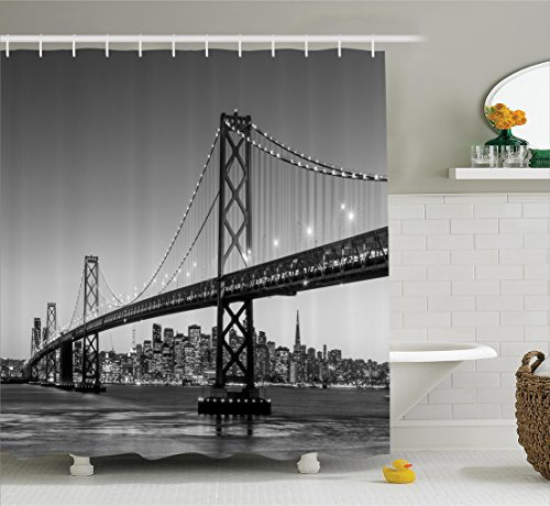 Ambesonne Apartment Decor Collection, Sun Setting View of San Francisco Bay Bridge California USA Tourist Attraction Image, Polyester Fabric Bathroom Shower Curtain Set, 75 Inches Long, - Beach Manhattan California Usa