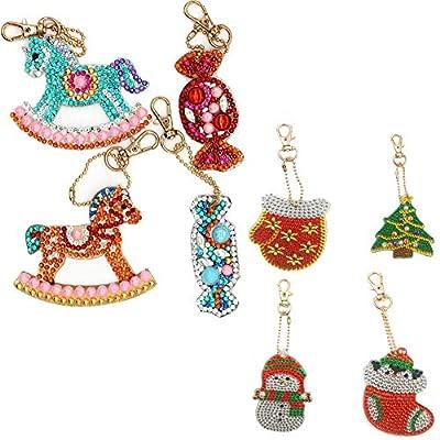 8 Pack DIY Keychains Diamond Painting Kits for Kids,Full Drill Rhinestone Mosaic Making Decorative Kits DIY Paint with Diamonds Arts Crafts: Arts, Crafts & Sewing