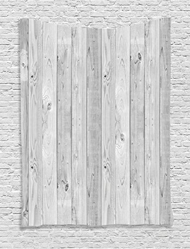 Ambesonne Grey Decor Collection, Picture of Smooth Oak Wood Texture in Old Fashion Retro Style Horizontal Nature Design Home Print, Bedroom Living Room Dorm Wall Hanging Tapestry, Gray Texture Fashion