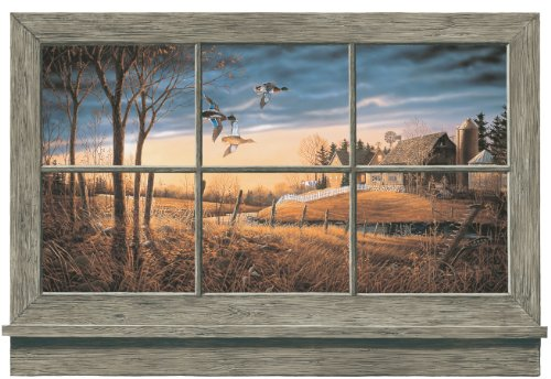 York Wallcoverings Lake Forest Lodge WD4302M Rustic Window Wall Accent Mural, Multi For Sale