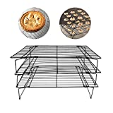 Bakeable Cooling Rack, 3-tier Bakeable Nonstick Cooling Rack Carbon Steel Stackable Wire Cookie Cake Cooling Rack for Bread and Other Baked Food, Stable Legs, Oven Safe, 15.79.8''