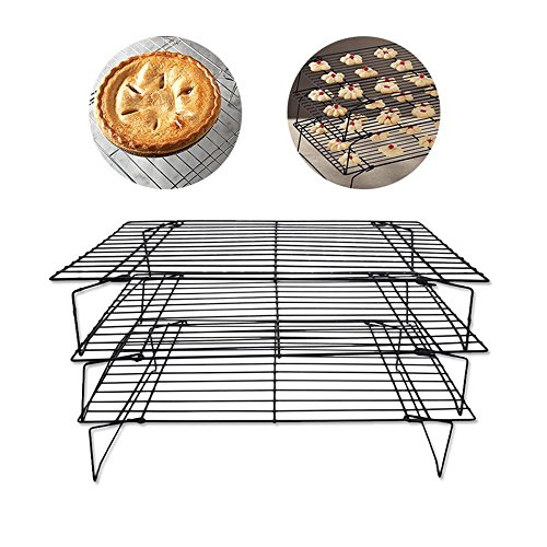 Bakeable Cooling Rack, 3-tier Bakeable Nonstick Cooling Rack Carbon Steel Stackable Wire Cookie Cake Cooling Rack for Bread and Other Baked Food, Stable Legs, Oven Safe, 15.79.8