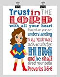 Superhero Wall Art Print – Supergirl Inspired Christian Nursery Decor – Trust in the Lord with all your heart Proverbs 3:5-6 – White Background