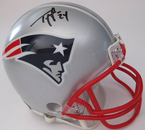 Ty Law, New England Patriots, Pats, Signed, Autographed, Mini Football Helmet, a COA with the Proof Photo of Ty Signing Will Be Included Autographed Patriots Pro Helmet