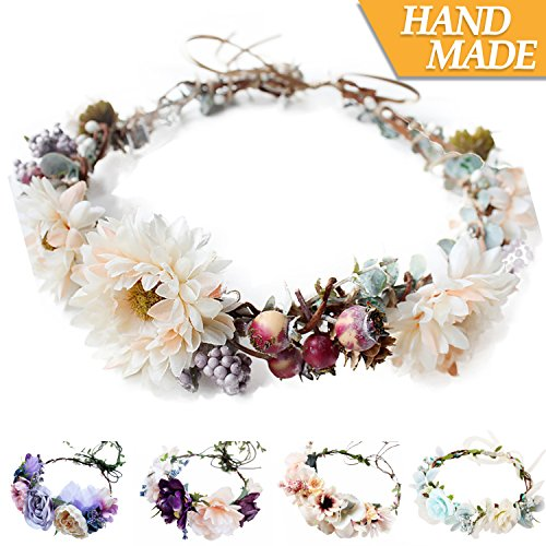 Handmade Flower Headband Floral Crown Boho Wreath Halo Garland Headpiece for Festival Wedding Photography (A2-(Berry & (Pink Ribbon Berries)