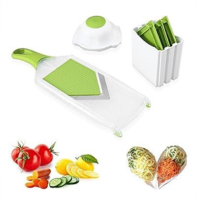 Cortador de Verduras Mandolina Frutas con forma 4 Cuchillas de Acero Inoxidable y un Protector para Cebollas / Tomates / Zanahorias / Patatas, Blanco