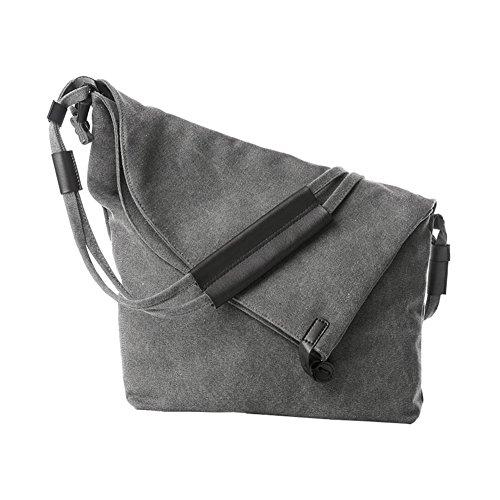 Grey Canvas Fold Body Satchel Hobo Casual Cross Bags Over Shoulder VRIKOO Bag Unisex qwAxCSXS7