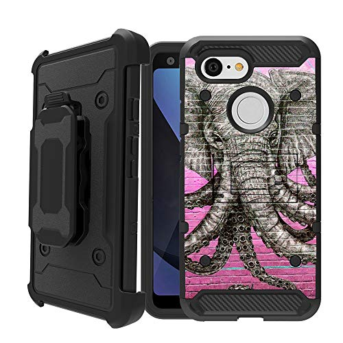 Untouchble | Holster Case Google Pixel 3 (2018) Heavy Duty [Tank Series] Built Tough Triple Combo Inner TPU Two Piece, Belt Clip - Pink Elephant