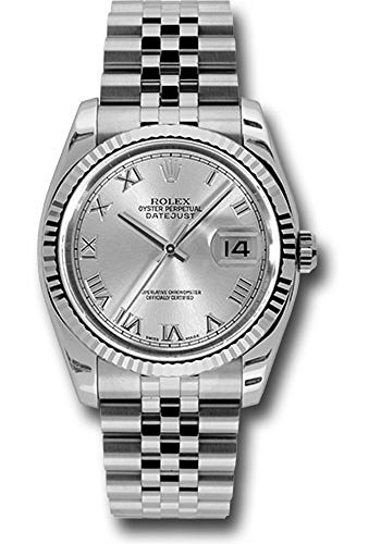 Rolex Oyster Perpetual Datejust 36mm Stainless Steel Case, 18K White Gold Fluted Bezel, Silver Rhodium Dial, Roman Numeral and Jubilee Bracelet.