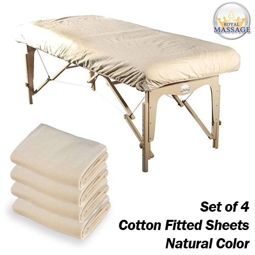 Royal Massage Cotton Flannel Massage Table Fitted Sheets, Set of 4