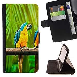 Momo Phone Case / Flip Funda de Cuero Case Cover - Macaw del arco iris del loro;;;;;;;; - Samsung Galaxy A5 ( A5000 ) 2014 Version