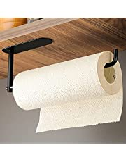 KEGII Paper Towel Holder, Toilet Paper Roll Holder, No Drilling Stainless Steel Wall Mount Under Cabinet Self Adhesive Paper Towel Rack for Kitchen Bathroom, Fits All Roll Sizes(Black)