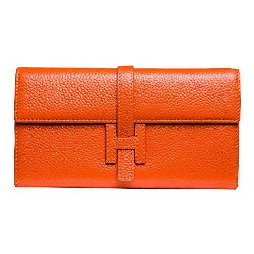 Jonon Women's Genuine Leather Wallets Long Clutch Purses Handbags (Orange) by JONON