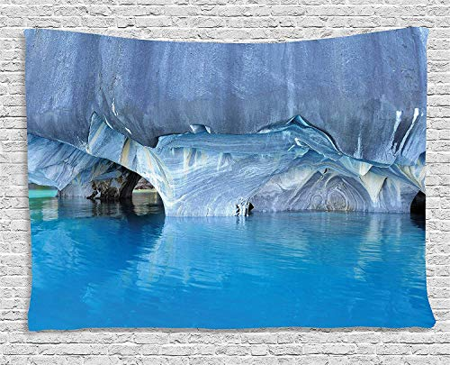THndjsh Blue Tapestry, Marble Cave General Carrera Lake in Chile Natural Wonders Rocks Azure Water, Wall Hanging Bedroom Living Room Dorm, 80 W X 60 L inches, Blue Purplegrey White